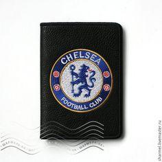 """Купить Обложка на паспорт вышитая """"Футбольный клуб Челси"""" - обложка, обложка для документов, подарок мужчине"""
