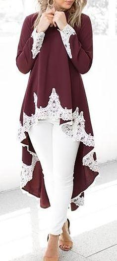 Hot Sale!Casual Long Sleeve Shirt O-neck Irregular Hem Lace Patchwork Dress