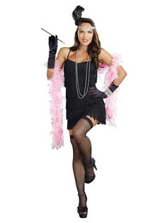 Black Fringe Flapper Dress | Wholesale 20s Costumes for Adults