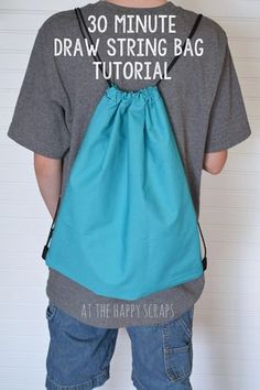 : 30 Minute Draw String Bag Tutorial http://amazing.ckid.org/?submit=Search&s=bags&niche=bags
