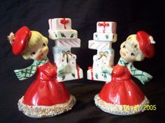 Vintage Holt Howard Christmas Girl With Christmas Packages Candle Holders