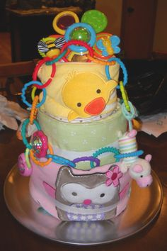 A Bit of Everything Diaper Cake for Baby Shower Centerpiece or Gift