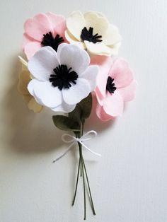 Anemone Bouquet / Felt Flower Bouquet / Wedding by ThreadandHeart