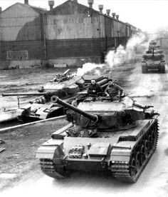 British Centurion Mk 3 tanks during trial ride in Barnbow factory