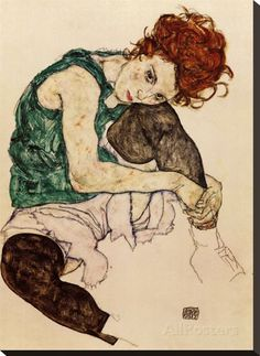 The Artist's Wife Stretched Canvas Print by Egon Schiele - AllPosters.ca