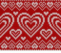 Valentines day red knitted sweater vector seamless pattern by art_of_sun, via Shutterstock Knitting Club, Knitting Charts, Double Knitting, Knitting Stitches, Fair Isle Knitting Patterns, Knitting Designs, Knitting Projects, Heart Patterns, Stitch Patterns