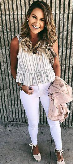 fashion look | white skinnies   blush jacket   top
