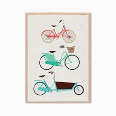 RETRO  Bikes And Cargo Poster  Modern Bicycle by SealDesignStudio