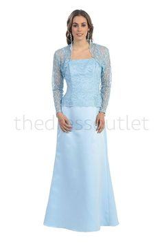 e86136231d3 Mother of the Bride Plus Size Evening Long Gown Bolero Jacket - The Dress  Outlet -