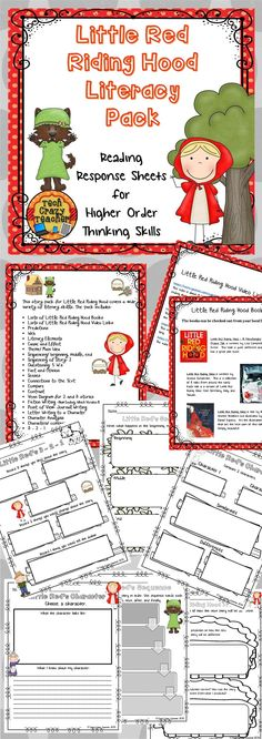 Little Red Riding Hood Reading Response Pack for Higher Order Thinking Skills. Explore different versions of the story while developing reading comprehension and higher order thinking skills. Book and web lists included! $