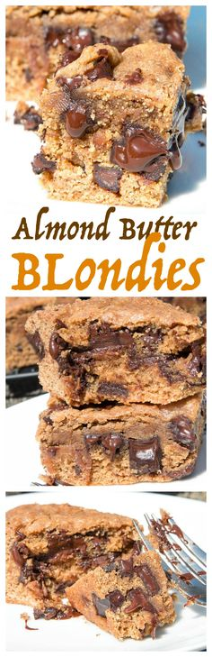 Almond Butter Blondies are moist and full of chocolate and almond butter that they don't miss a beat of deliciousness.
