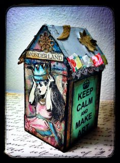 Paper House created for Retro Cafe ART Gallery DT -Alice in Wonderland Collage Sheet DP322