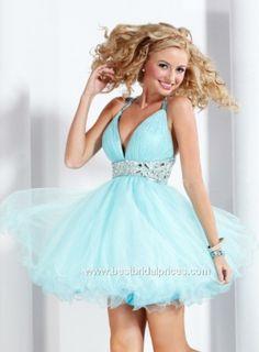 V-neck light blue short prom dress