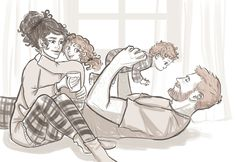 Pajama Party- Ron Hermione and the kids. Sketch Request for KJ on Patreon. (ノ◕ヮ◕)ノ*:・゚✧ ஐﻬ MY PATREON ﻬஐ Harry Potter Fan Art, Hermione Fan Art, Mode Harry Potter, Harry Potter Couples, Harry Potter Drawings, Harry Potter Ships, Harry Potter Pictures, Harry Potter Universal, Harry Potter Memes