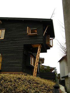 Black Buildings - Terunobu Fujimori's Spooky Glam Charred Wood Houses Japanese Architecture, Beautiful Architecture, Architecture Design, Exterior Siding, Interior And Exterior, Interior Design, Black Building, Home Styles Exterior, Cedar Homes