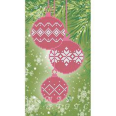 Канва с рисунком для бисера Новогодние шары Т-0176 #beads #beadwork #embroidery #mimistitch