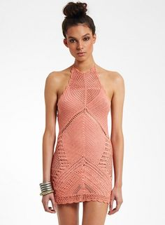 Halter Neck Hollow out Crochet Cover-up Dress - OASAP.com
