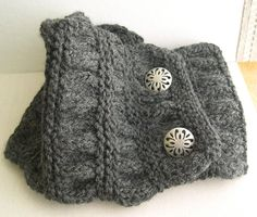 Gray knitted Cowl, Cozy Collar, Dark Gray Chunky Neck Warmer, Gray Knitted Scarf, Winter Fashion 2014