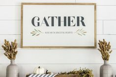 Gather Here With Grateful Hearts. Wood sign with watercolor detail. Fall decor. Farmhouse style.