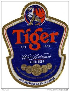 TIGER BEER bottle label from Malaysia (1 set) The coolest brand