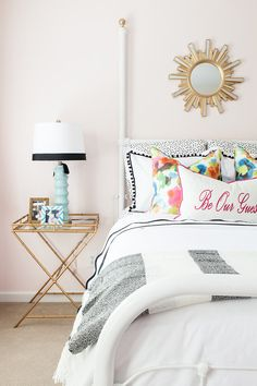 Bright + colorful guest bedroom