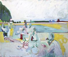 """lilithsplace: """"Picnic With Dotted Bowl - Roland Petersen (b. 1926) oil on canvas 