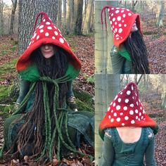 Custom Made to Order: Fairytale Felted Fly Agaric Hood, Mushroom Hat, Festival Hat, Faerie Toadstool LARP Pixie Fantasy Hood Inspiration zum Häkeln - Cute Adorable Baby Outfits Halloween Kostüm, Halloween Costumes, Pirate Costumes, Pixie, Mushroom Hat, Mushroom Costume, Fancy Dress, Dress Up, Costume Carnaval