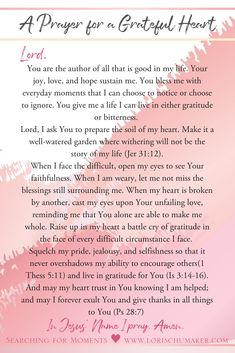 Is your heart in need of gratitude? Pray this prayer asking God to cultivate in you a grateful heart. Printable PDF available- #MomentsofHope #GratefulHeart Series - Lori Schumaker of Searching for Moments and Marva of SunSparkleShine Christian Women Blogs, Christian Post, Christian Faith, Christian Quotes, Inspirational Verses, Inspiring Quotes, Identity In Christ, Everlasting Life, Bible Verses