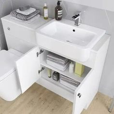 Harper Right Hand Shower Bath & Gloss White Combined Vanity Unit Suite - Florence Pan Shower Stall, Bathroom Shower Design, Bathroom Vanity Units, Vanity, Shower Renovation, Trendy Bathroom, Shower Suites, Vanity Units, Bathroom