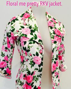 New style alert - Floral me pretty RKV jacket @Key Black.   Available in sizes 10-24.   NZ Made and designed.