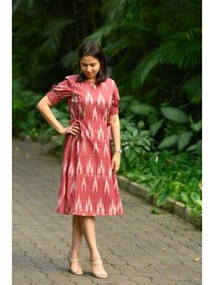 Red Ikat A line Tie up Dress from the house of Bluepin. Ikat Princess Cut Dress With Side Tie On Both Sides, Comes With Attached Cotton Lining. The lead time is days. Simple Gown Design, Simple Kurti Designs, Kurta Designs Women, Kurti Neck Designs, Tie Up Dress, Frock Dress, The Dress, Western Dresses For Women, Frock For Women