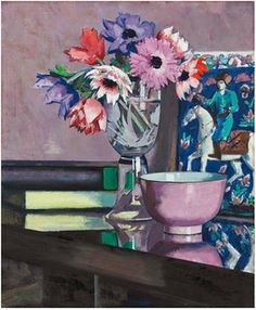 Pink Flowers Blue Vase Still Life Francis Cadell Counted Cross Stitch Pattern