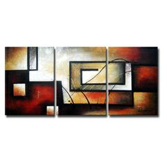 'Abstract 418' 3-piece Gallery-wrapped Hand Painted Canvas Art Set | Overstock.com Shopping - Top Rated Canvas