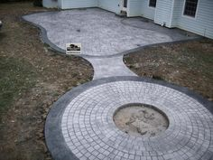 395 Sq Ft Rectangle Patio Design With Circle Fire Pit