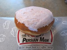 Persians—somewhat like a cross between a large cinnamon bun and a doughnut, topped with strawberry icing, unique to Thunder Bay, Ontario.
