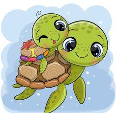 Baby Animal Drawings, Cute Animal Drawings Kawaii, Cartoon Drawings Of Animals, Cute Cartoon Animals, Kawaii Drawings, Cartoon Kids, Easy Drawings, Cute Animals, Cute Baby Cartoon