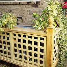 Hiding your air conditioner using fence, finials and shrubs ! Keeps the kids away from the ac unit too! Curb appeal For a front yard box. 25 DIY Garden Projects Anyone Can Make - Craftionary Diy Garden Projects, Outdoor Projects, Home Projects, Outdoor Spaces, Outdoor Living, Outdoor Decor, Outdoor Ideas, Diy Gardening, Vegetable Gardening