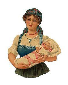 Glanzbilder - Victorian Die Cut - Victorian Scrap - Tube Victorienne - Glansbilleder - Plaatjes : Mutter und Kind - mother and child - mère et enfant