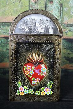 Large Reliquary with Heart & Los Muertos Retablo Valentine's Day Mexico Folk Art