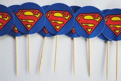 Superman Cupcake Toppers by ChocRain on Etsy, $6.50 Superman Cupcakes, Superman Party, Superman Birthday, Superhero Party, I Party, Party Time, Party Ideas, It's Your Birthday, Birthday Ideas