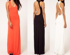 Chic Backless Maxi Dress Is A Summer Must Have. Comfortable Fitted Style Material Makes This Dress Elegant Yet Casual.  Material: Polyester & Spandex (Floor Length, Scoop Neck, Exposed Back) Colors: Orange Or Black Sizes: Small, Medium, Large (PLEASE PAY ATTENTION TO THE SIZES) Small (Bust ...