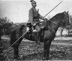"""Caption: """"A proud Prussian lancer. Horsemen of such units were called Uhlans. Initially, Uhlans were Polish and Lithuanian light horses introduced in the 15th century. In the Turkish Tatar language """"oglan or ulan"""", meant, amongst other things, a """"brave warrior"""" or """"young man"""". """""""