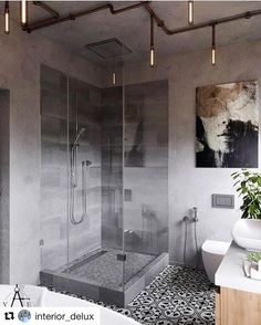 Today's bathroom inspo industrial chic #bathroom #bathroomdesign #industrialdesign #baderom #interior_delux @vae.by reposted from @interior_delu #iginteriors #shower #bathroomideas