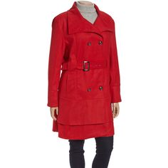 Yoki Red Belted Trench Coat (43 BAM) ❤ liked on Polyvore featuring plus size fashion, plus size clothing, plus size outerwear, plus size coats, plus size, long red coat, womens plus coats, red trench coat, plus size long coat and trench coat