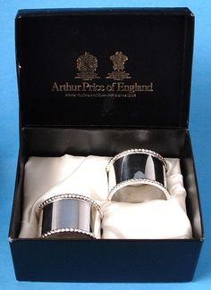 English Silver Plate Napkin Ring Pair 1970s Boxed Beaded Edges Royal Warrants