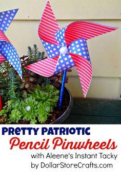 Easy Patriotic Pinwheel made with pencils & Aleene's Instant Tacky - a Dollar Store Craft! Great diy tutorial - summer craft idea
