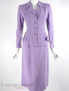 Lavender skirt suit, 1940's - 1950's.: Suits Purple, Pant Suits, Vintage Fashion, Dresses Vintage, Retro Suits, Lavender Skirt, 1950S Suits, 1940S 1950S, Skirt Suit