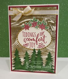 HAPPY HEART CARDS: THE HEART OF CHRISTMAS #10: STAMPIN' UP! CAROLS OF CHRISTMAS WITH A MARBLED BACKGROUND