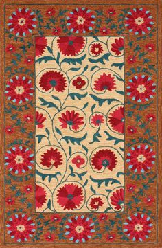 Rugs USA Fergana Siran Floral Suzani Caramel Rug. Rugs USA Columbus Day $99 Sale! Area rug, rug, carpet, design, style, home decor, interior design, pattern, trends, home, statement, fall,design, autumn, cozy, sale, discount, interiors, house, free shipping, Halloween, fall decorations, fall crafts, fall décor, great winter, winter, warm, furniture, chair, art.