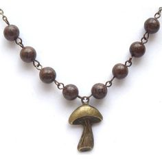 Antiqued Brass Mushroom Coffe Flower Jasper Necklace.